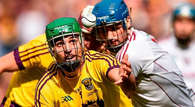 Wexford sweeper Shaun Murphy in action against Galway's Conor Cooney at the weekend. Photo: David Maher/Sportsfile