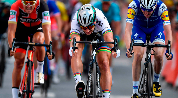 World champion Peter Sagan won Stage 3 of the Tour de France ahead of Australian Michael Matthews (out of picture) and Ireland's Dan Martin. Photo: Getty Images