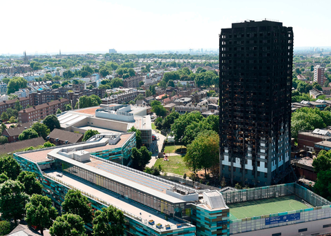 Grenfell Tower in west London after a fire engulfed the 24-storey building. Photo: PA