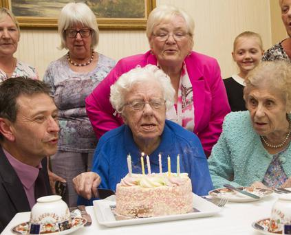 Maud Nicholl celebrating her 108th birthday at the Tullyglass Hotel in Ballymena