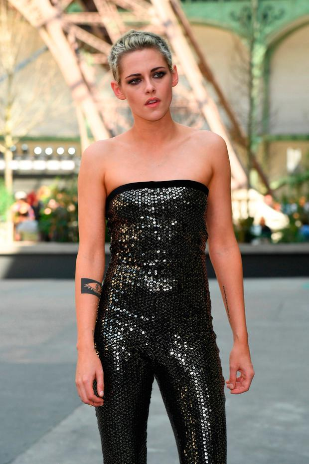Kristen Stewart turns heads in sequin strapless jumpsuit ...