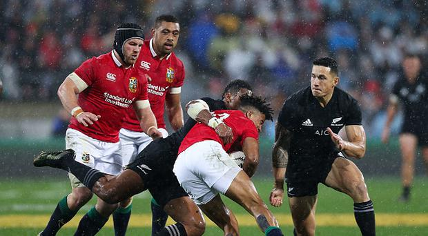 Anthony Watson of the Lions collides with Sonny Bill Williams of New Zealand during the International Test match between the New Zealand All Blacks and the British & Irish Lions at Westpac Stadium on July 1, 2017 in Wellington, New Zealand. (Photo by Hagen Hopkins/Getty Images)