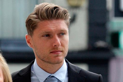 Footballer Jeff Hendrick (25), who is originally from Kilmore Drive, Artane, but now based in the UK, arrives at the Dublin Circuit Criminal Court (Picture: Collins Courts)