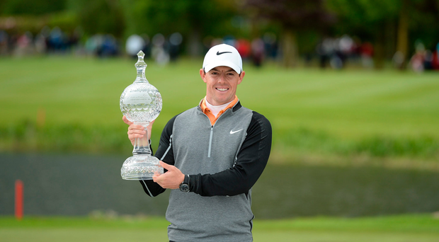 22 May 2016; Rory McIlroy of Northern Ireland celebrates with the trophy after winning the Dubai Duty Free Irish Open Golf Championship at The K Club in Straffan, Co. Kildare. Matt Browne/Sportsfile