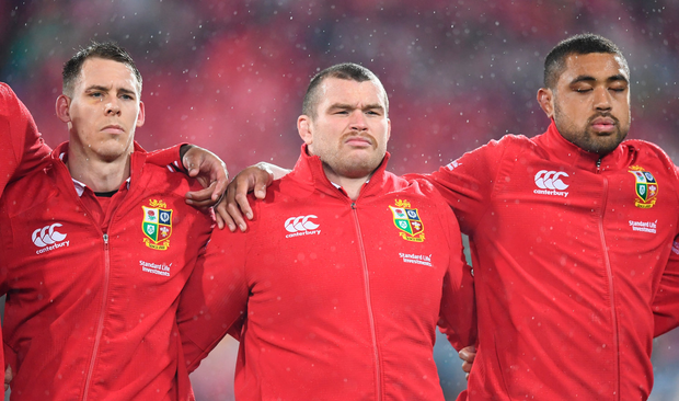 1 July 2017; British and Irish Lions players, from left, Liam Williams, Jack McGrath and Taulupe Faletau during the Second Test match between New Zealand All Blacks and the British & Irish Lions at Westpac Stadium in Wellington, New Zealand. Photo by Stephen McCarthy/Sportsfile
