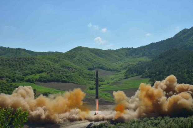 The intercontinental ballistic missile Hwasong-14 is seen during its test launch