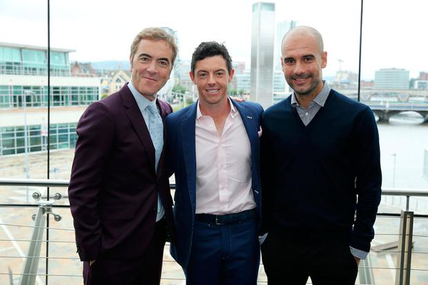Rory McIlroy with James Nesbitt and Pep Guardiola at the Waterfront Hall in Belfast ahead of 'An Evening with Rory' which was attended by almost 3,000. Photo by Kelvin Boyes / Press Eye.