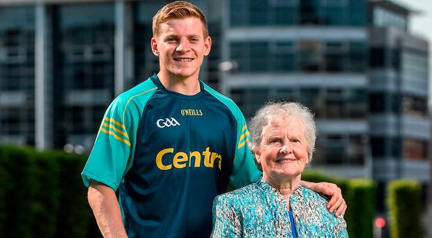 Clare hurler Podge Collins with his grandmother Kate Mary Cremin at the Centra Hurling Media Launch at Smithfield Square, Dublin. Photo: Seb Daly/Sportsfile