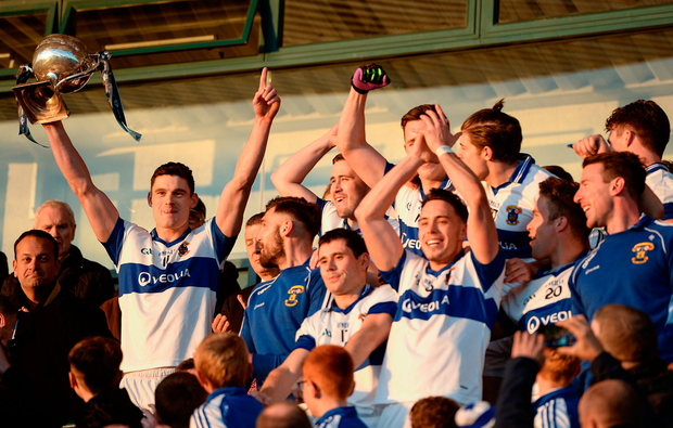 St Vincent's Diarmuid Connolly lifts the Clery Cup after captaining his side to victory in last year's Dublin SFC final. Photo by Seb Daly/Sportsfile