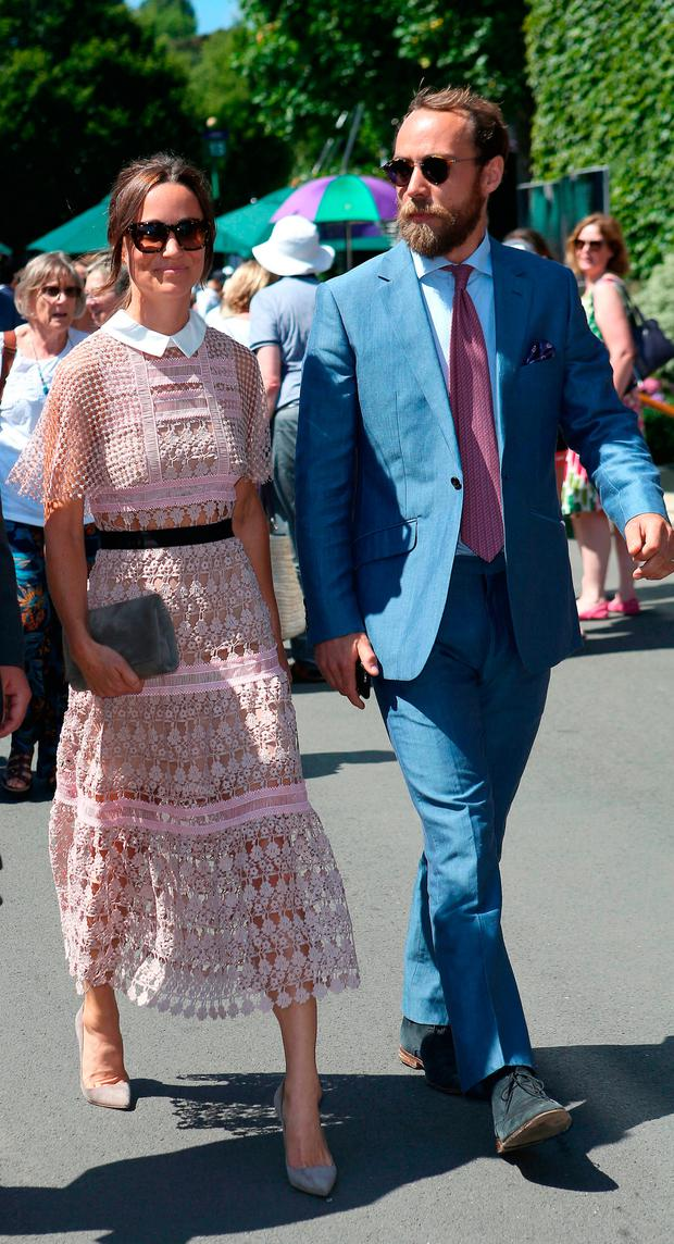 Pippa Middleton and James Middleton arrive on day three of the Wimbledon Championships at the All England Lawn Tennis and Croquet Club, Wimbledon