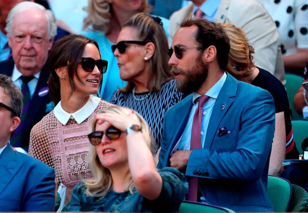 Pippa and James Middleton in the royal box of centre court on day three of the Wimbledon Championships at The All England Lawn Tennis and Croquet Club, Wimbledon