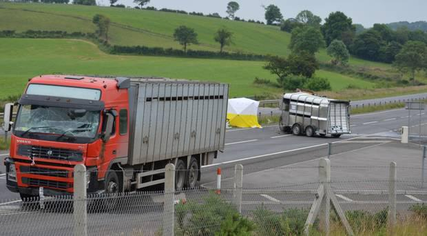 The scene of the collision on the A4 dual carriageway on June 25, 2014. Phelim Brady was killed after he was thrown from a tractor on to the road