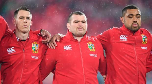 Jack McGrath (centre), flanked by Lions team-mates Liam Williams (left) and Taulupe Faletau (right).