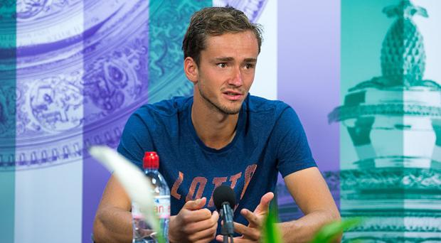 Russia's Daniil Medvedev speaks during a gives a press conference at The All England Tennis Club in Wimbledon, southwest London, on July 5, 2017, after losing his second round match against Belgium's Ruben Bemelmans on the third day of the 2017 Wimbledon Championships tennis tournament. JOE TOTH/AFP/Getty Images