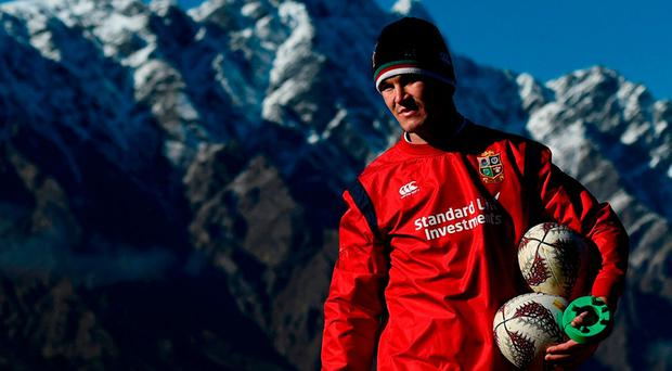 Johnny Sexton prepares for action during Lions training in Queenstown. Photo: STEPHEN McCARTHY/SPORTSFILE