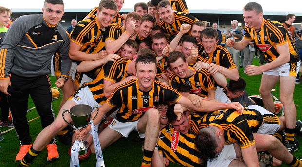 5 July 2017; Pat Lyng, the Kilkenny captain, with the trophy and his team-mates after the Bord Gais Energy Leinster GAA Hurling Under Championship Final Match between Kilkenny and Wexford at Nowlan Park in Kilkenny. Photo by Ray McManus/Sportsfile