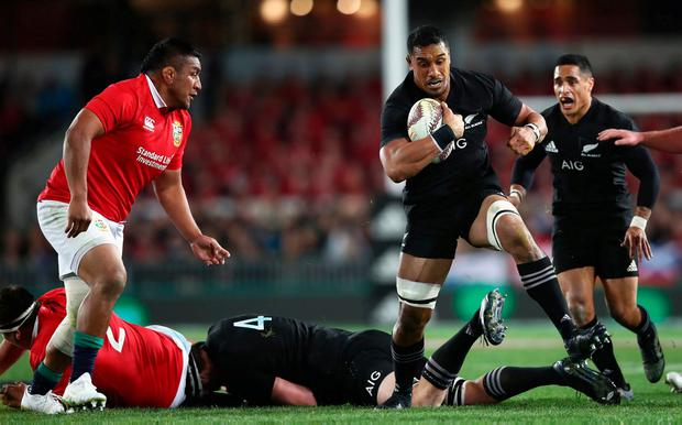 Jerome Kaino of the All Blacks goes past Mako Vunipola during the first test match between the New Zealand All Blacks and the British & Irish Lions at Eden Park in Auckland, New Zealand. Photo: GETTY