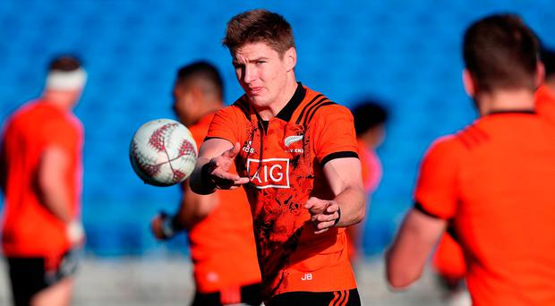 New Zealand's Jordie Barrett during a training session at The Trust Arena, Henderson. Photo: PA