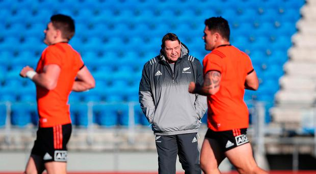 New Zealand head coach Steve Hansen during a training session at The Trust Arena, Henderson. Photo: PA