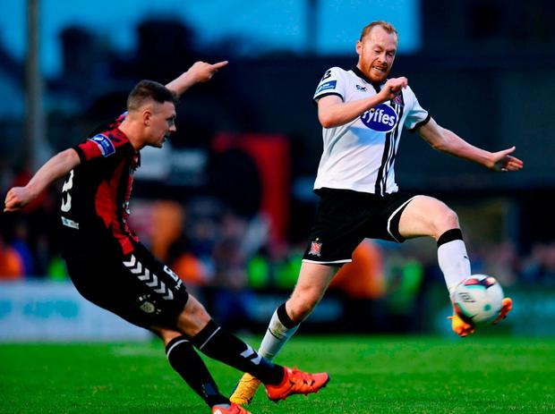 Dundalk's Chris Shields in action against Bohemians' Phillip Gannon. Photo by Sam Barnes/Sportsfile