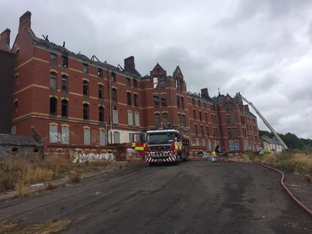 The exterior of the St Kevin's unit of St Anne's/Our Lady's Hospital complex, which was ruined in the blaze. Photo: Cork Fire Brigade Twitter