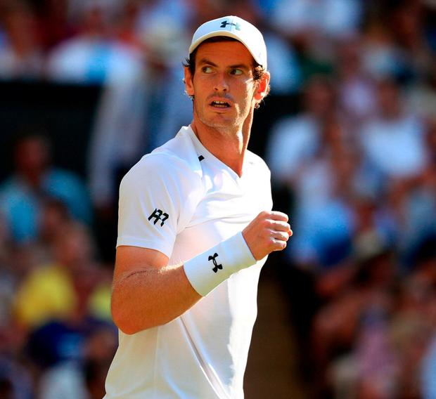 Andy Murray celebrates victory over Dustin Brown