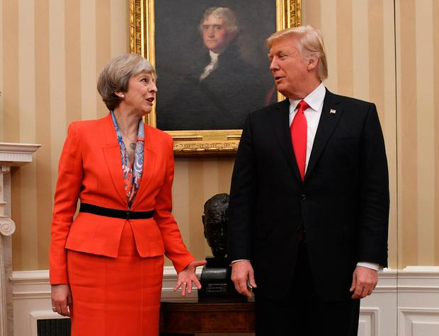 Prime Minister Theresa May meeting US President Donald Trump in the Oval Office of the White House in Washington DC Photo: Stefan Rousseau/PA Wire