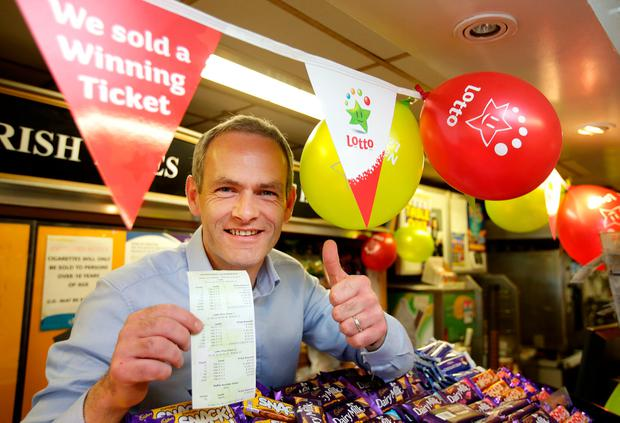 Jim Argue with a copy of the winning Lotto numbers which claimed the 6m Lotto win in Cootehill Co. Cavan. Picture; Gerry Mooney