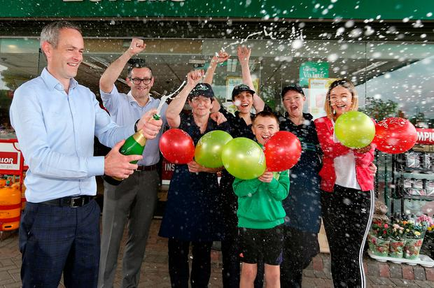 Jim Argue, owner of the service station that sold the winning ticket, celebrates the winning Lotto numbers which claimed the 6m Lotto win in Cootehill Co. Cavan. Picture; Gerry Mooney