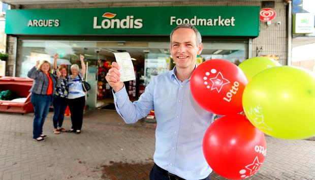 Jim Argue, owner of the service station that sold the winning ticket, with a copy of the winningl Lotto numbers which claimed the 6m Lotto win in Cootehill Co. Cavan. Picture; Gerry Mooney