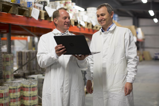 Novi, the proactive managed services provider, has designed and implemented an all new IT infrastructure for O'Brien Fine Foods in a €450,000 deal. Pictured (L - R) are: George O'Dowd, managing director, Novi; and Enda Duffy, IT manager, O'Brien Fine Foods.