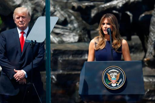 U.S. First Lady Melania Trump delivers a speech next to U.S. President Donald Trump in front of the Warsaw Uprising Monument at Krasinski Square, in Warsaw, Poland July 6, 2017. REUTERS/Kacper Pempel