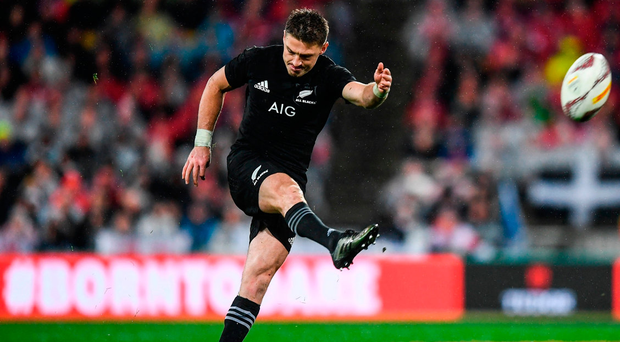 Beauden Barrett kicks a penalty during the Second Test match between the All Blacks and the Lions. Photo: Sportsfile