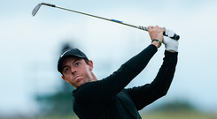 Rory McIlroy plays a shot from the 14th fairway. Photo: Sportsfile