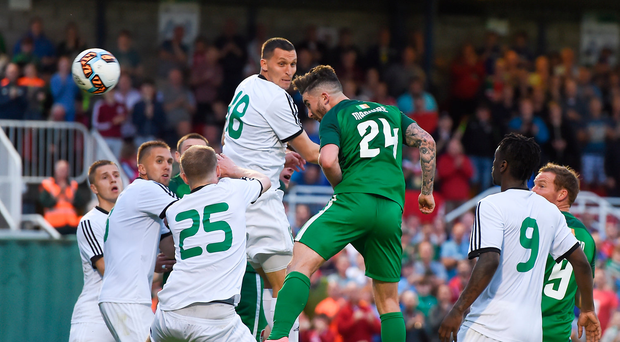 6 July 2017; Sean Maguire of Cork City scores his side's fourth goal during the Europa League First Qualifying Round Second Leg match between Cork City and Levadia Tallinn at Turners Cross in Cork. Photo by Eóin Noonan/Sportsfile