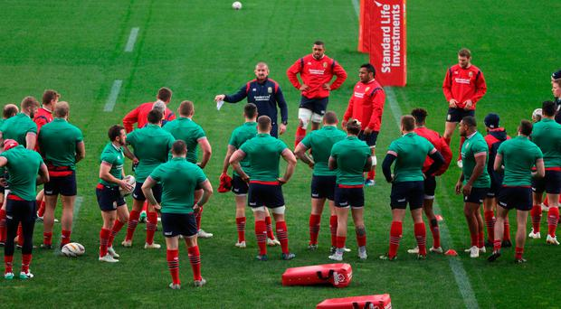 The Lions players listen in as Graham Rowntree delivers instructions ahead of tomorrow's deciding third Test against New Zealand. Photo: Getty