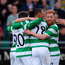 6 July 2017; Shamrock Rovers players celebrate after Graham Burke, centre, scored their side's first goal during the Europa League First Qualifying Round Second Leg match between Shamrock Rovers and Stjarnan at Tallaght Stadium in Tallaght, Co Dublin.