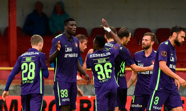 Paul Onuachu, second from left, of Midtjylland celebrates after scoring his side's second goal with team-mate Rilwan Hassan. Photo: David Maher/Sportsfile