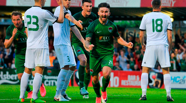 Sean Maguire of Cork City celebrates after scoring his side's fourth goal. Photo: Sportsfile