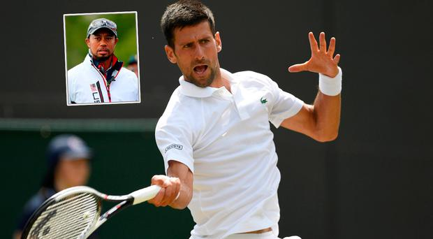 Novak Djokovic has hit back at comments comparing him to Tiger Woods (inset)