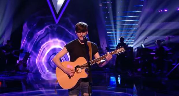 Adam Moloney during his first The Voice Kids UK audition