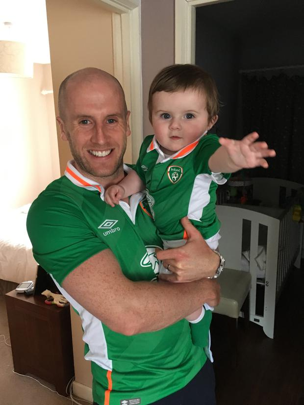 Brian Quinn with his wife Aisling and baby son Conor, now 20 months.