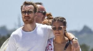 Michael Fassbender and Alicia Vikander put on loved-up display at the beach in Ibiza. Picture: Splash News
