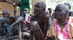 Elderly people awaiting aid in Nyal, South Sudan