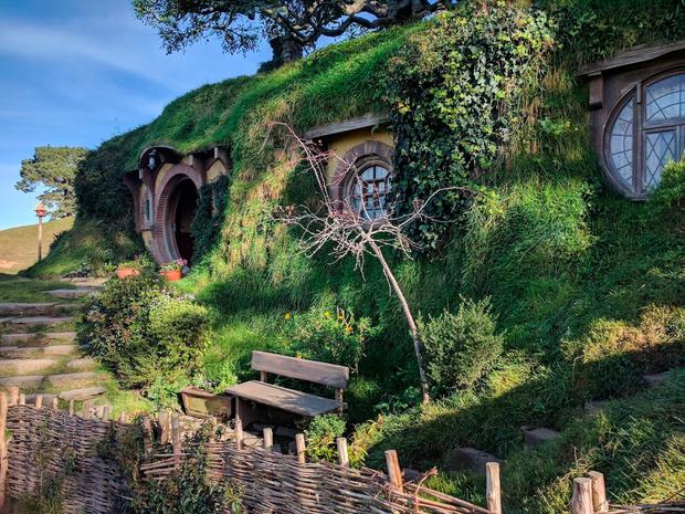 The set at Hobbiton, where much of Lord of the Rings was filmed.