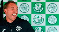 Celtic manager Brendan Rodgers in jovial mood during a press conference yesterday ahead of their match against Shamrock Rovers. Photo by Piaras Ó Mídheach/Sportsfile