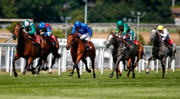 Spark Plug (left), with Ryan Moore up, on the way to winning The Ambant Gala Stakes at Sandown yesterday. Photo by Alan Crowhurst/Getty Images