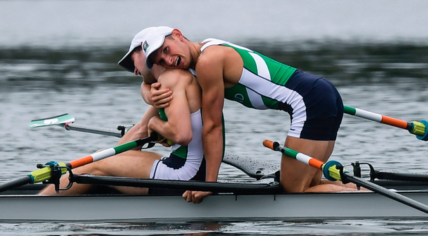 The Olympic silver medallists jacked the rate up to 40 strokes a minute to get back on terms with the leaders, but ran out of water. Photo: Sportsfile