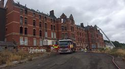 The St Anne's/Our Lady's complex, where one gable collapsed and two others are now tilting ouwards, Photo: Cork Fire Brigade