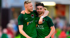 Kevin O'Connor and Sean Maguire celebrate after Cork City's Europa League victory over Levadia Tallinn at Turner's Cross. Photo by Eóin Noonan/Sportsfile